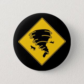 Road Sign- Tornado 6 Cm Round Badge
