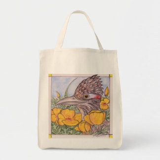 """""""Roadrunner and Poppies"""" Bright New Mexico Tote"""