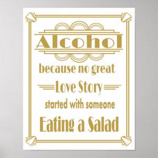 Roaring 20's Art deco Wedding Alcohol Bar print