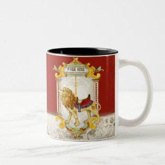 Roaring Lion Brass Ring, Circus Carousel Vintage Two-Tone Coffee Mug