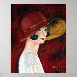 Roaring Twenties 1920s Flapper Girl in Red Hat Poster