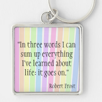 Robert Frost Silver-Colored Square Key Ring