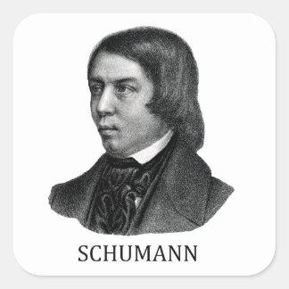 Robert Schumann, black Square Sticker