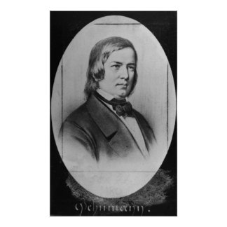 Robert Schumann  engraved from a photograph Poster