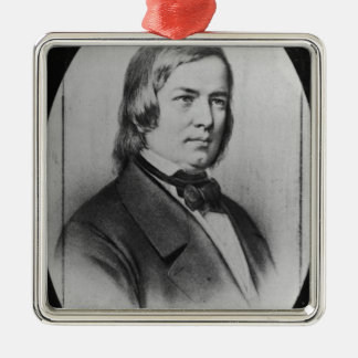 Robert Schumann  engraved from a photograph Silver-Colored Square Decoration