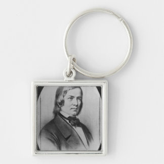 Robert Schumann  engraved from a photograph Silver-Colored Square Key Ring