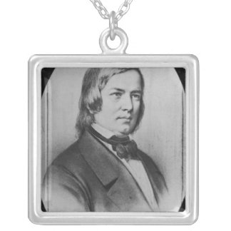 Robert Schumann  engraved from a photograph Square Pendant Necklace