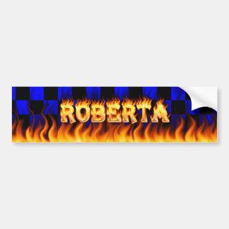 Roberta real fire and flames bumper sticker design