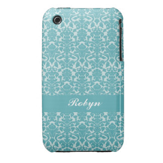 Robin blue damask pattern custom name personal iPhone 3 covers