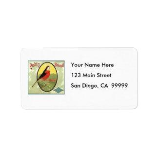 Robin Brand Fruit Crate Label Address Label
