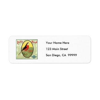 Robin Brand Fruit Crate Label Return Address Label