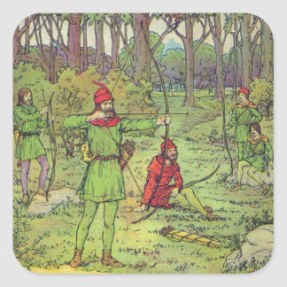 Robin Hood In The Forest Square Sticker