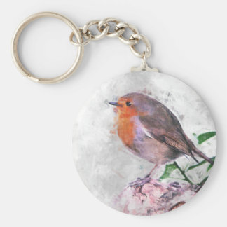 Robin Redbreast Basic Round Button Key Ring