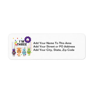 Robot 3rd Birthday T shirts and Gifts Return Address Label