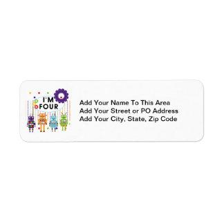 Robot 4th Birthday Tshirts and Gifts Return Address Label