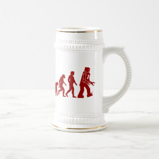 Robot Evolution of man into robot Beer Steins