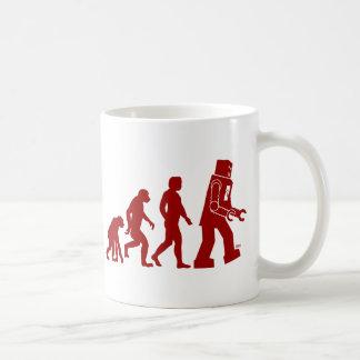 Robot Evolution of man into robot Mugs