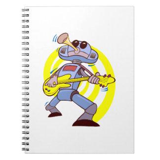 robot guitar player yellow.png spiral notebook