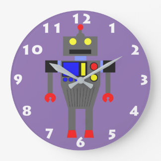 ROBOT (LILAC WITH NUMERALS) Kids Wall Clock