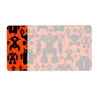 Robots Rule Fun Robot Silhouettes Orange Robotics Shipping Label
