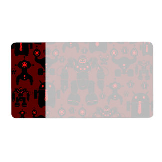 Robots Rule Fun Robot Silhouettes Red Robotics Shipping Label