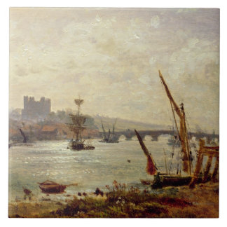 Rochester Cathedral and Castle, c.1820-30 (oil on Tile