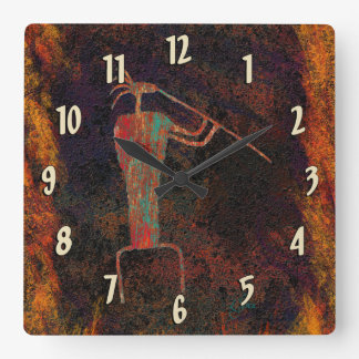 Rock Art Flute Player Square Wall Clock