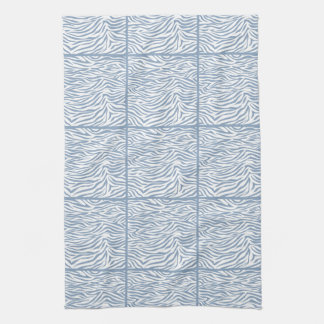 Rock Blue Safari Zebra, tiled design Tea Towel