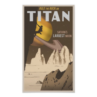 Rock Climbing on Titan a moon of Saturn Poster