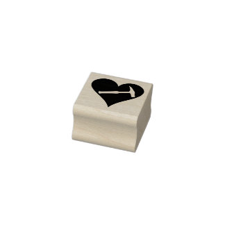 Rock Hammer and Heart Rubber Stamp