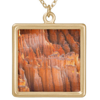 Rock Hoodoos in Morning Light Gold Plated Necklace