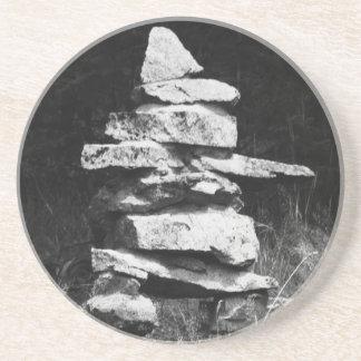 Rock Inukshuk - Inuit aboriginal stonework Coaster