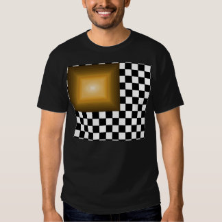 Rock n Roll Retro Gold Hipster B/W Checkerboard Tshirts