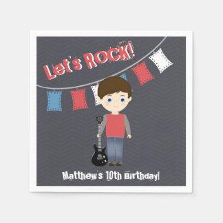 Rock Star Birthday Boy Disposable Serviette