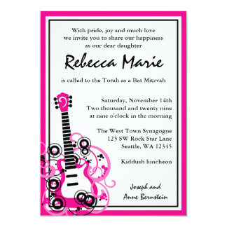 Rock Star Guitar Bat Mitzvah Pink and Black 13 Cm X 18 Cm Invitation Card