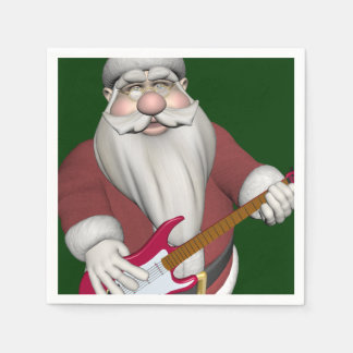 Rock Star Santa With Red Electric Guitar Paper Napkin