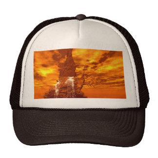 Rock with waterfall trucker hat