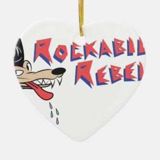 Rockabilly Rebel Ceramic Heart Decoration