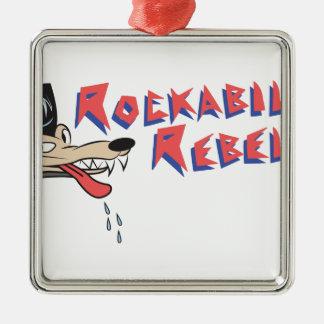 Rockabilly Rebel Silver-Colored Square Decoration