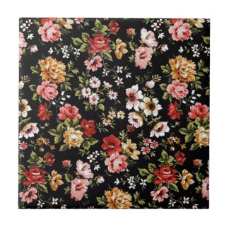 Rockabilly retro fifties floral daisies tile