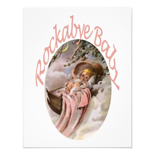 RockaBye Baby Lullaby Watercolor Personalized Invitations