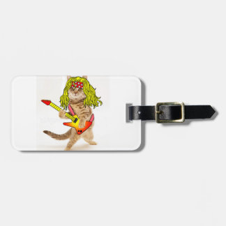 Rocker cat - funny cats - crazy cat luggage tag