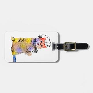 Rocker cat - punk cat - singing cats luggage tag