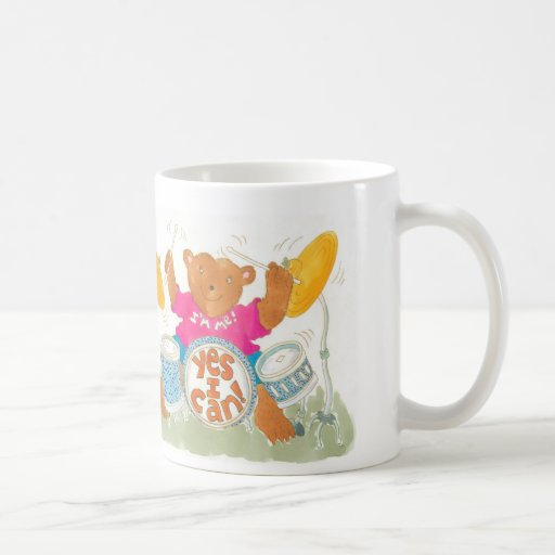 "rocker drummer bear says ""YES I CAN!"" Coffee Mug"