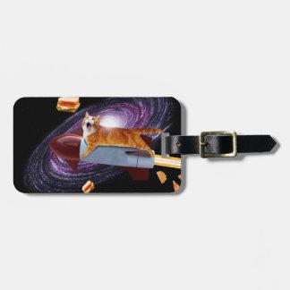Rocket cat luggage tag
