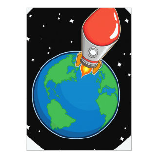 Rocket Fly from Earth 14 Cm X 19 Cm Invitation Card