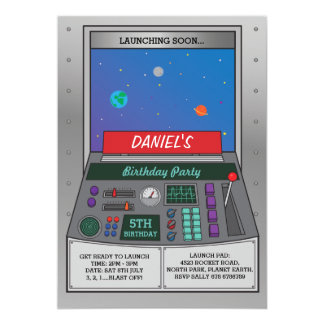 Rocket Launch Pad Space View Birthday Party Invite