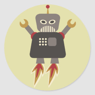 Rocket Robot Round Sticker