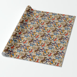 rocking horses wrapping paper