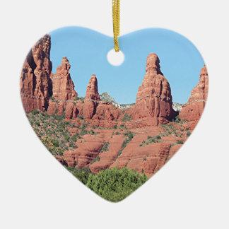 Rocks near Sedona, Arizona,USA 2 Ceramic Heart Decoration